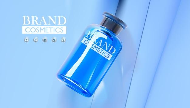 Pot en verre bleu réaliste pour les soins de la peau en gel de fond de teint cosmétique sur fond bleu