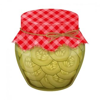 Pot en verre avec des concombres faits maison. style réaliste.