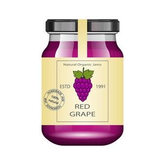 Pot en verre avec de la confiture de raisin et configurer. collection d'emballage. étiquette vintage pour la confiture. banque réaliste.
