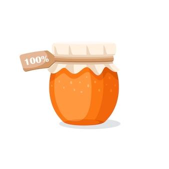 Pot en verre avec du miel isolé sur fond blanc