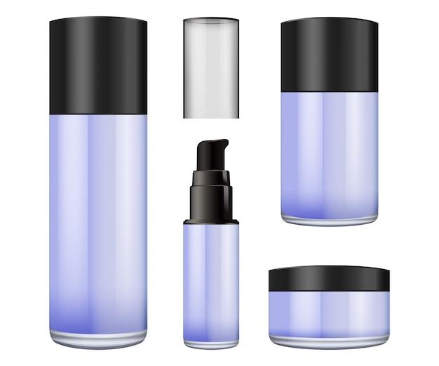 Pot en verre flou réaliste avec couvercle en plastique pour les cosmétiques -