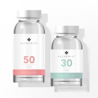Pot de verre médical de supplément de beauté de soins de santé