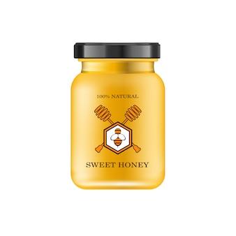 Pot en verre réaliste avec du miel. banque alimentaire.