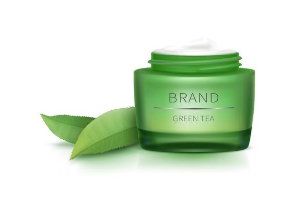 Pot en verre vert avec couvercle ouvert