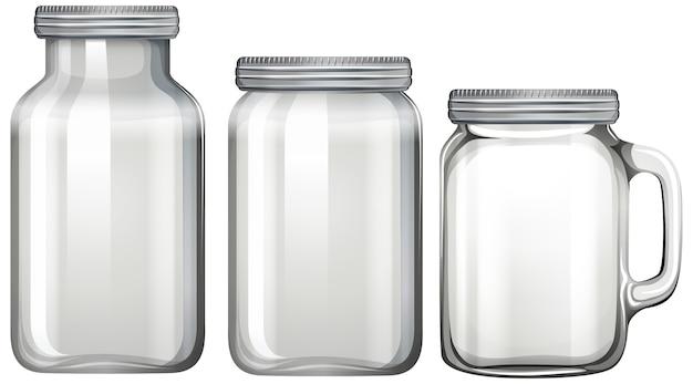 Pot en verre vide sur blanc
