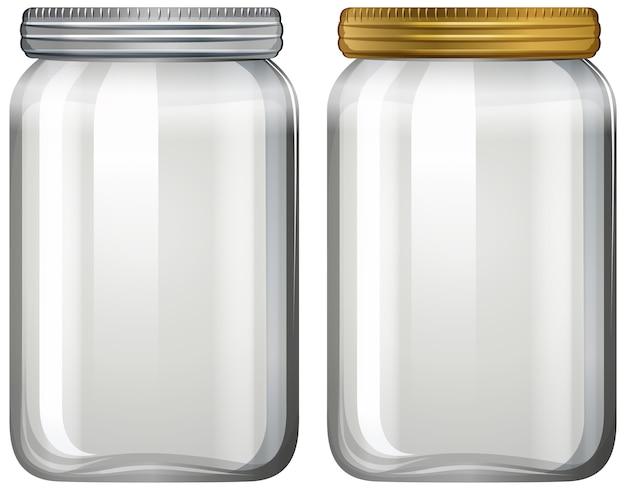 Pot en verre vide sur fond blanc
