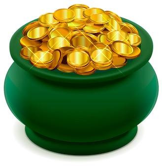 Pot vert plein de pièces d'or