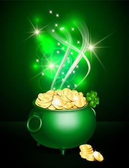Pot vert symbole de la saint-patrick