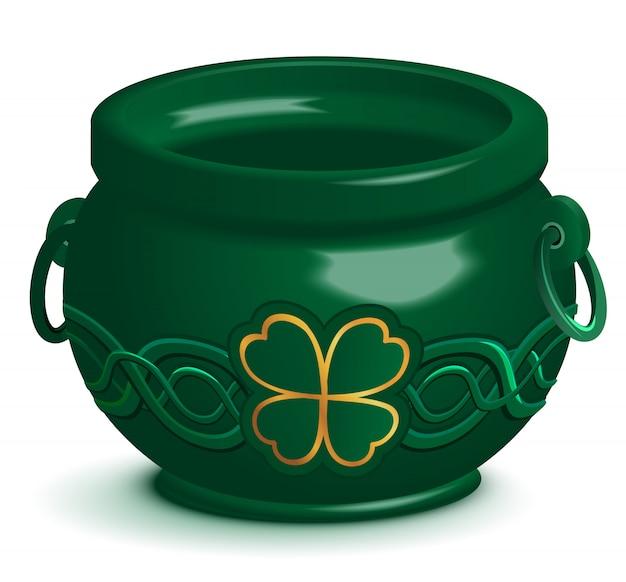 Pot vide vert avec ornement de trèfle à feuilles. symbole de la saint-patrick