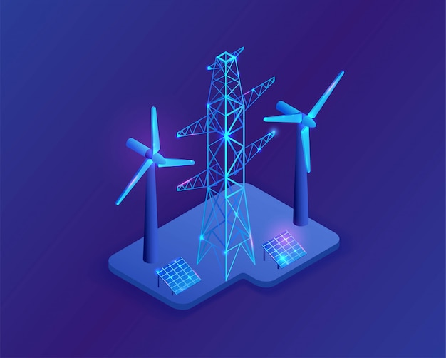 Poteau électrique et panneau solaire illustration 3d isométrique