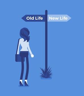 Poteau indicateur vers une femme directe, ancien et nouveau choix de vie