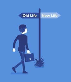 Poteau indicateur vers un homme direct, ancien et nouveau choix de vie