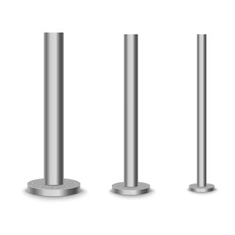 Poteau en métal, tube en acier de différents diamètres.