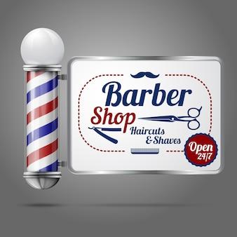 Poteau de salon de coiffure en argent et verre vintage à l'ancienne réaliste avec signe de coiffeur.