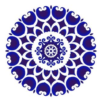 Poterie de fleurs bleues et blanches