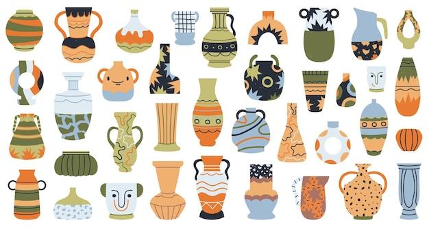 Poterie moderne. vases en porcelaine en céramique, ensemble isolé de vase en porcelaine décoratif dessiné à la main