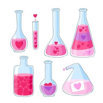Potion d'amour de belles bouteilles avec ensemble de coeurs.