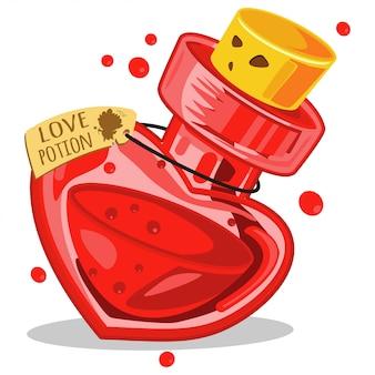Potion d'amour dans une bouteille en verre. illustration de vecteur de dessin animé isolé