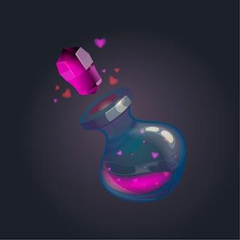 Potion d'amour dans une bouteille en verre