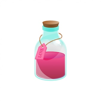 Potion d'amour en style cartoon. illustration vectorielle