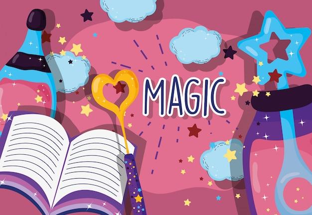 Potion de poussière conjure avec baguette magique et livre