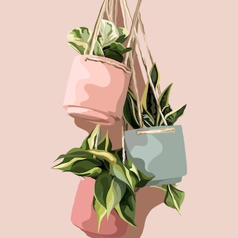 Pots de fleurs suspendus. illustration de mode vectorielle