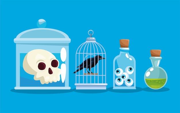 Pots d'halloween avec des yeux de corbeau de crâne et un design de poison, des vacances et un thème effrayant