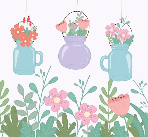 Pots mason avec des fleurs