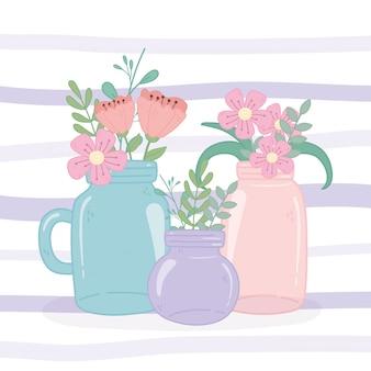 Pots mason verre fleurs floral