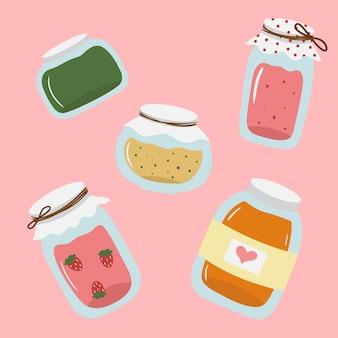 Pots en verre dessinés à la main mignons avec confiture de framboises fraises abricots orange