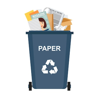 Poubelle avec des déchets de papier, recyclage des ordures, illustration vectorielle