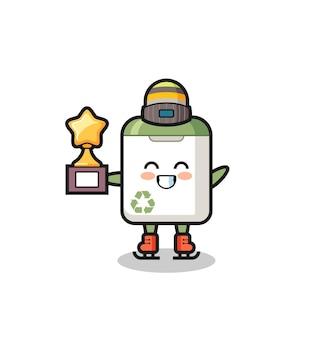 Poubelle dessin animé en tant que joueur de patinage sur glace tenant le trophée du vainqueur, design de style mignon pour t-shirt, autocollant, élément de logo