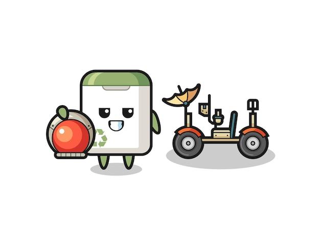 La poubelle mignonne comme astronaute avec un rover lunaire, design de style mignon pour t-shirt, autocollant, élément de logo