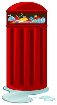Poubelle rouge pleine de déchets