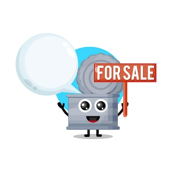 Poubelle à vendre mascotte de personnage mignon