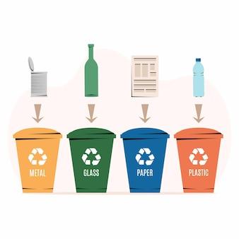 Poubelles de différentes couleurs avec des déchets de papier, de plastique, de verre et de métal adaptés au recyclage. trier les déchets, trier les ordures, gérer les déchets. fond blanc. illustration, style plat.