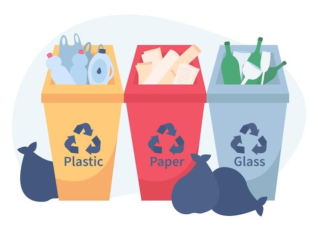 Poubelles de différentes couleurs avec du papier, du plastique et du verre adaptés au recyclage.