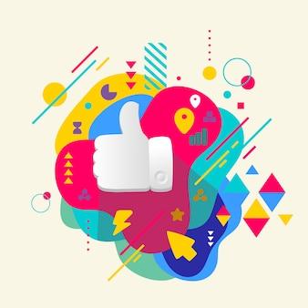 Le pouce sur l'abstrait coloré tacheté avec différents éléments.