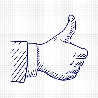 Pouce levé comme illustration vectorielle de main croquis