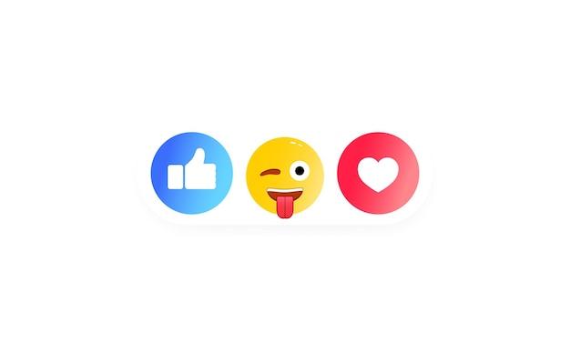 Pouce levé et étiquette de coeur avec sourire de dessin animé ou ensemble d'icônes sociales
