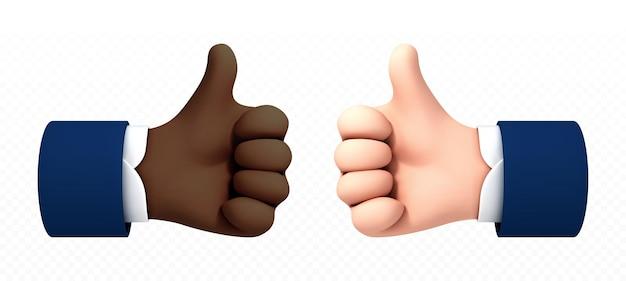 Pouce de main de dessin animé afro-américain et caucasien vers le haut isolé sur fond transparent. illustration vectorielle de concept positif et comme symbole.