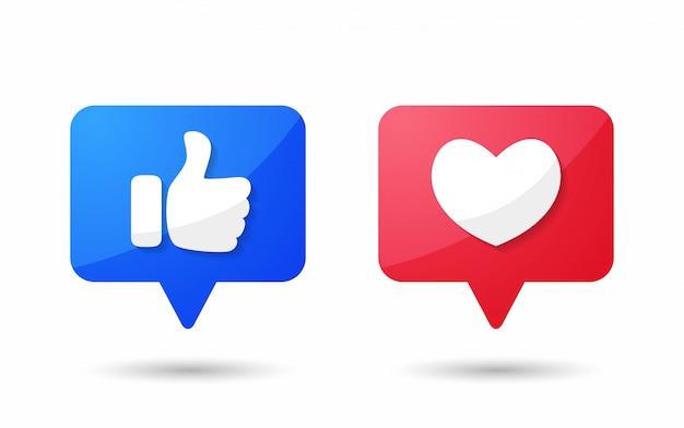Le pouce vers le haut et l'icône du cœur des réactions empathiques emoji