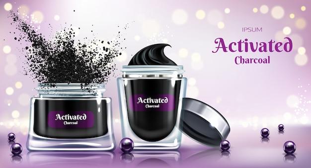 Poudre cosmétique, crème de soin de la peau ou masque facial avec du charbon actif, bannière de publicité de vecteur réaliste 3d