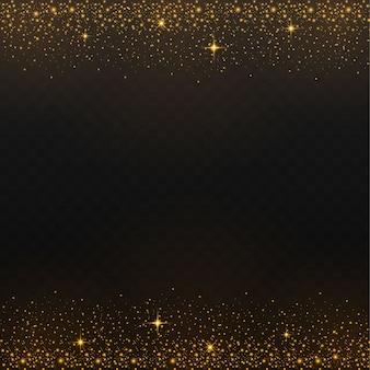 Poudre de poussière dispersée d'or tombant d'en haut avec un éclat sur un fond noir.
