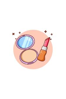 Poudre et rouge à lèvres icône illustration de dessin animé