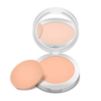 Poudre de visage de produit cosmétique détaillée réaliste pour la peau de soin de maquillage de beauté féminine. illustration vectorielle