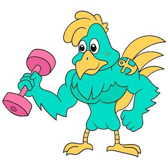 Poule coq musclé grande salle de gym fitness levage entraînement d'haltères, illustration vectorielle art. doodle icône image kawaii.