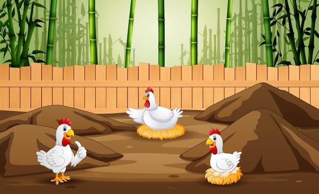 Poule de dessin animé avec de nombreux œufs dans la cage de la ferme