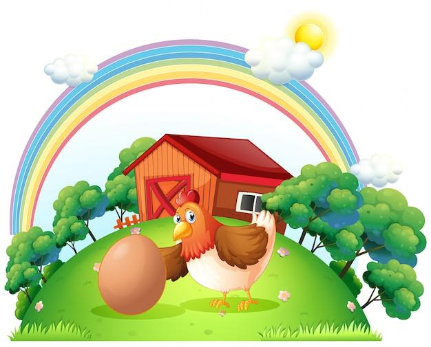 Une poule et un oeuf près de la maison en bois