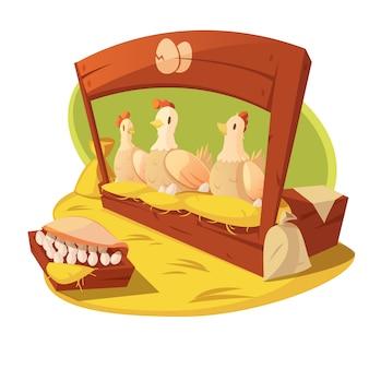 Poule et oeufs dans une ferme avec du foin et des sacs de céréales pour se nourrir
